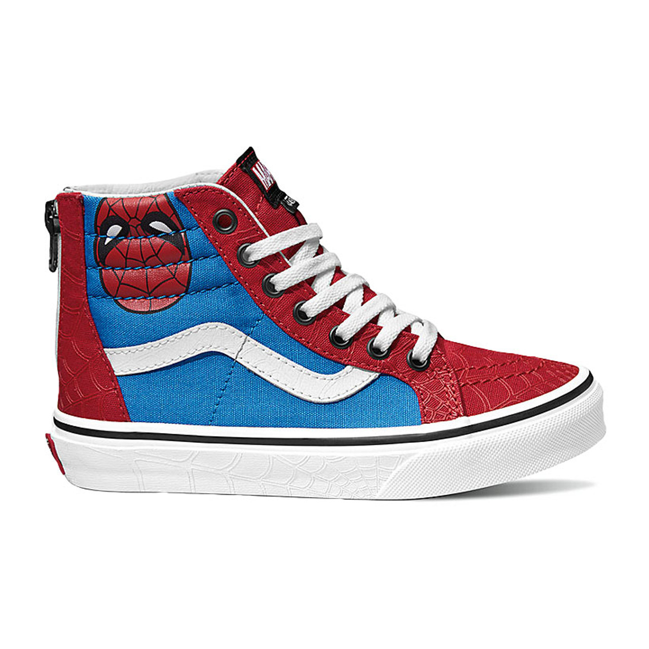 b78d90a31eec Vans Youth Shoes - Sk8-Hi Zip - Marvel Spiderman/True White - Surf and Dirt