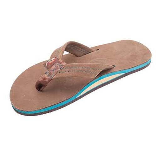 Rainbow Flip Flops - Premier Blue - Expresso Leather