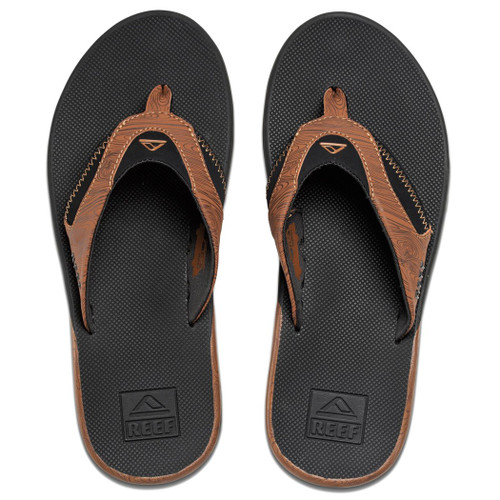 Reef Flip Flop - Fanning Prints - Black/Woods 2