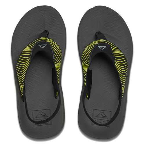 Reef Kid's Flip Flop - Grom Rover Prints - Yellow/Black
