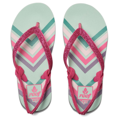 Reef Little Girl's Flip Flop - Little Stargazer Print - Chevron
