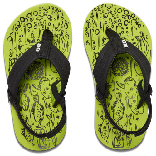 Reef Kid's Flip Flop - Grom Reef Footprints - Footprints Green
