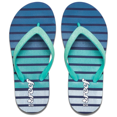Reef Little Girl's Flip Flop - Little Stargazer Print - Blue Stripes