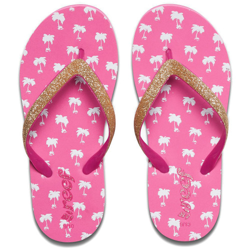 Reef Little Girl's Flip Flop - Little Stargazer Print - Pink Palms