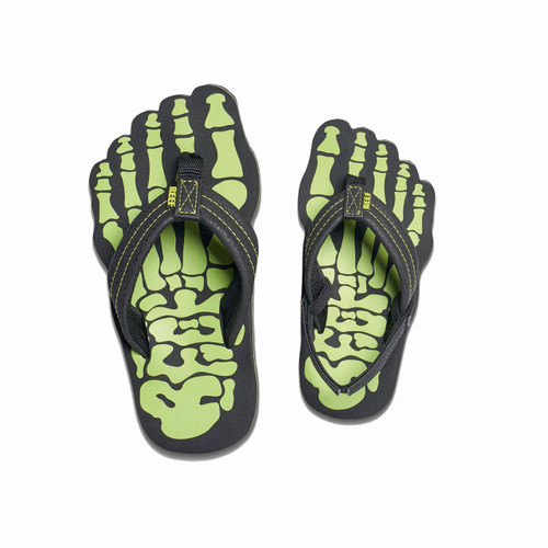 Reef Kid's Flip Flop - Grom Skeleton - Green
