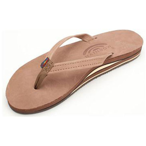 Rainbow Women's Flip Flop - Premier Narrow Strap - Ladies Dark Brown