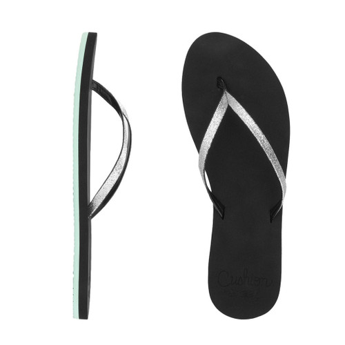 Reef Women's Flip Flop - Cushion Glitz - Black/Aqua