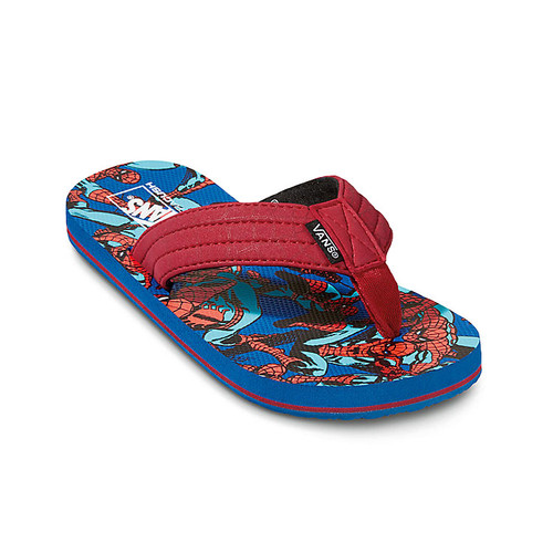 Vans Youth Flip Flop - T Street Print JR - Marvel Spiderman/Red/Blue