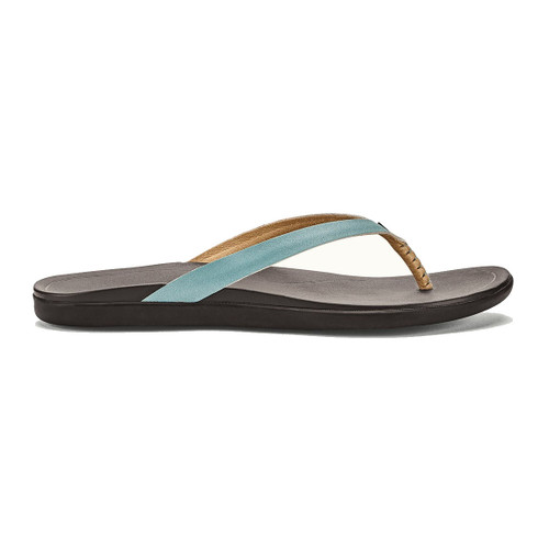 OluKai Women's Flip Flops - Ho'Opio Leather - Mineral Blue/Dark Java