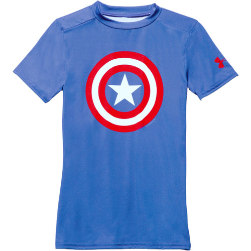 Under Armour Kid's Tee Shirt - Captain America SS - Royal/Red