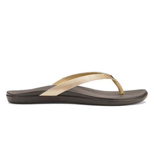 Olukai Women's Flip Flop - Ho'Opio Leather - Bubbly/Dark Java