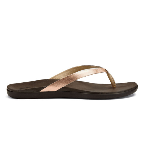 Olukai Women's Flip Flop - Ho'Opio Leather - Copper/Dark Java