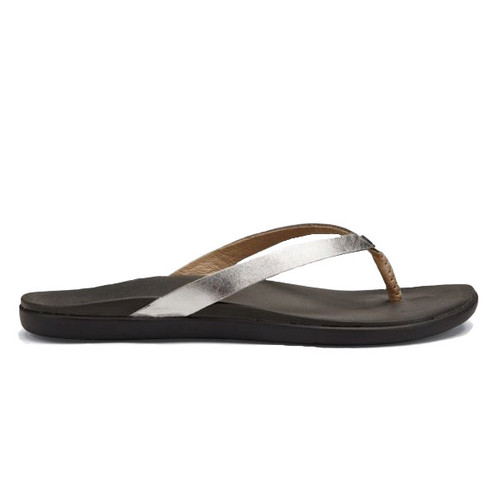 Olukai Women's Flip Flop - Ho'Opio Leather - Silver/Charcoal