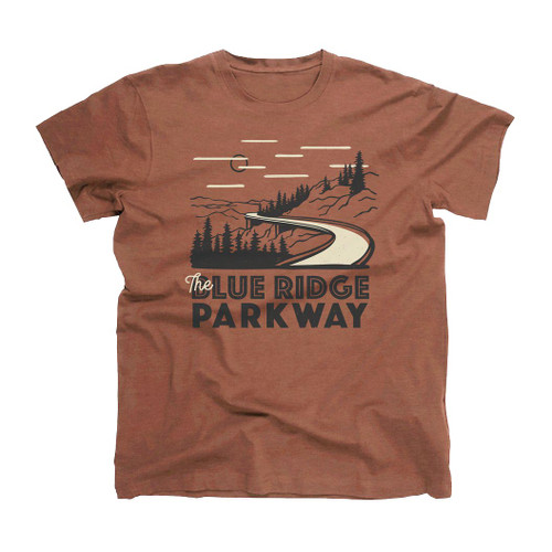 Landmark Tee Shirt - Blue Ridge Parkway Motif - Clay