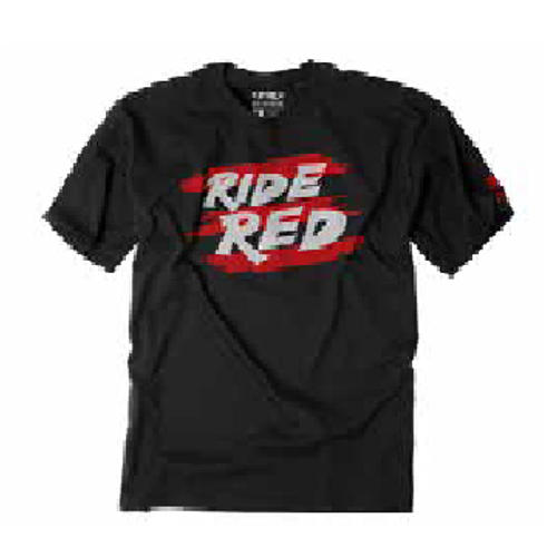 Factory Effex Boy's Tee Shirt - Honda Ride Red Stripes - Black