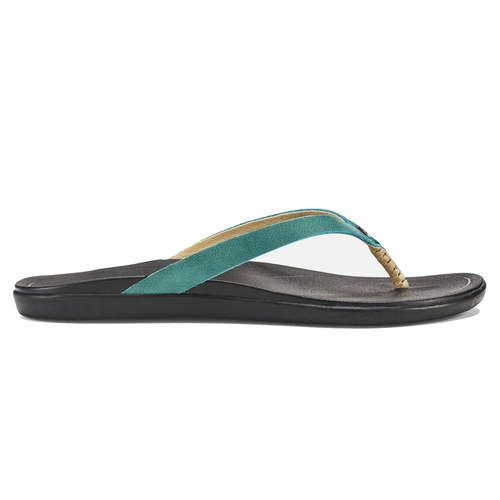 Olukai Women's Flip Flop - Ho'Opio Leather - Paradise/Black