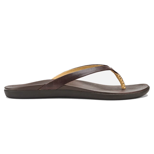 Olukai Women's Flip Flop - Ho'Opio Leather - Dark Java/Dark Java