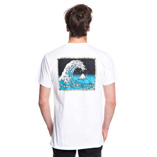 Quiksilver Tee Shirt - OG Mountain and Wave - White