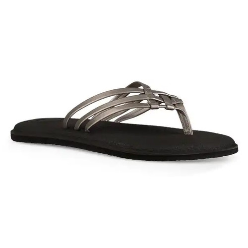 5b305aa242ac Sanuk Women s Flip Flop - Yoga Bliss Metallic - Pewter - Surf and Dirt