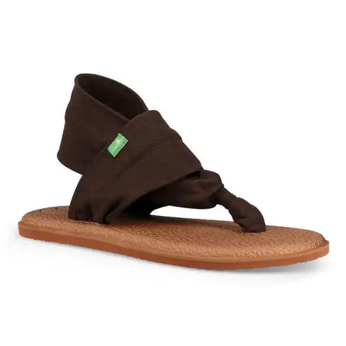 Sanuk Women's Flip Flop - Yoga Sling 2 Metallic LX - Chocolate Brown/Metallic Bronze