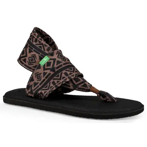 Sanuk Women's Flip Flop - Yoga Sling 2 Prints - Skyland Brown/Black