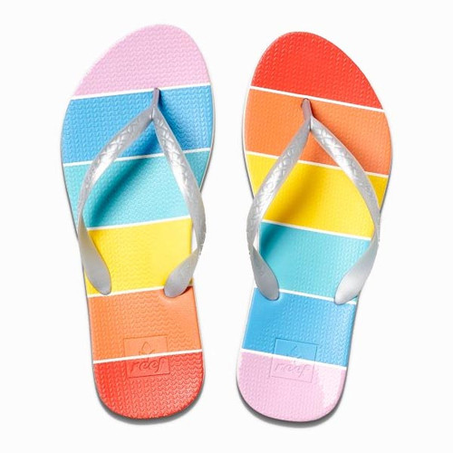 Reef Women's Flip Flops - Escape Lux Prints - Rainbow Stripe