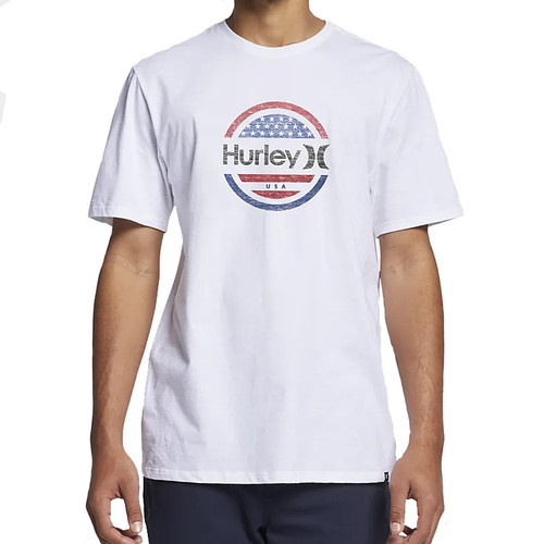 Hurley Tee Shirt - One and Only Circle Stars - White