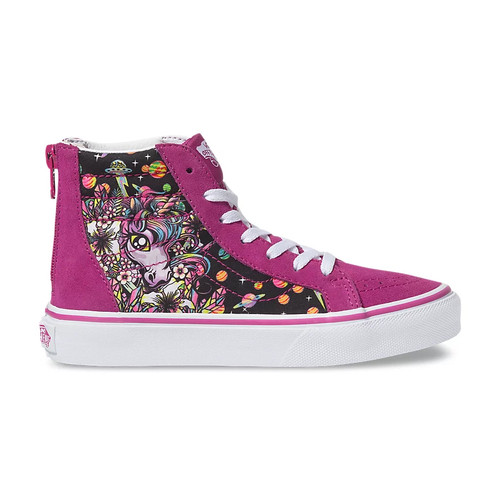 Vans Youth Shoes - Sk8-Hi Zip - Space Unicorn/Fuchsia Red/White