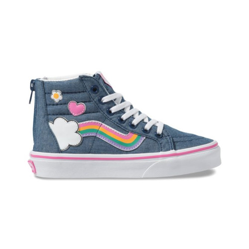 Vans Kid's Shoes - Sk8-Hi Zip - Rainbow/Denim/True White