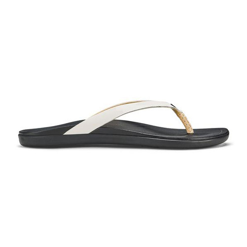 OluKai Women's Flip Flops - Ho'opio Leather - White/Black