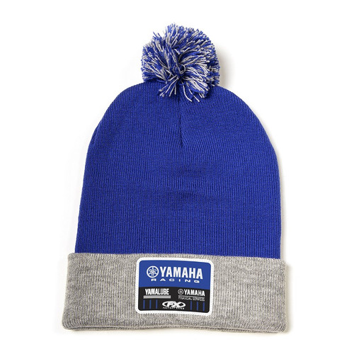 Factory Effex Beanie - Yamaha Racewear Pom - Royal Blue/Grey
