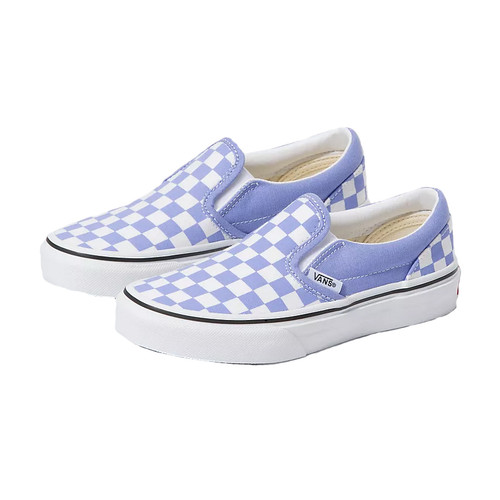 Vans Youth Shoe - Classic Slip-On - (Checkerboard) Pale Iris/True White