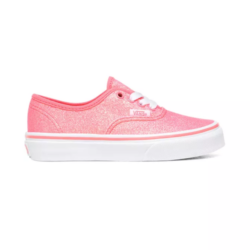 Vans Youth Shoe - Authentic - (Neon Glitter) Pink/True White