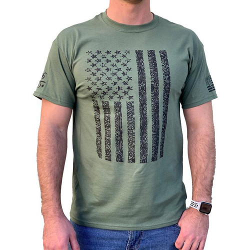 Country Life Tee Shirt - Patriotic Flag - Military Green
