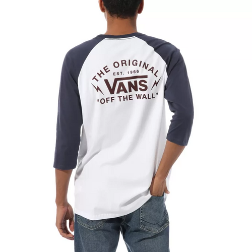 Vans Tee Shirt - Bolt Action Raglan - White/Dress Blues