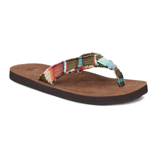 Sanuk Flip Flop - Fraid Not - Brown/Olive Multi