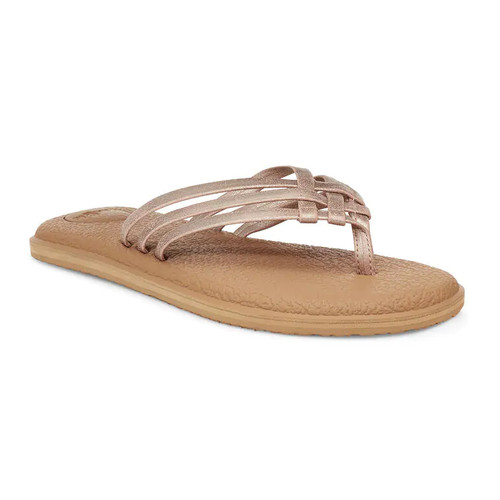 Sanuk Women's Flip Flop - Yoga Salty Shimmer Metallic - Rose Gold