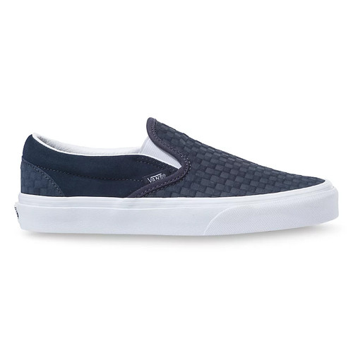 Vans Women's Shoes - Classic Slip-On - Emboss Mini Check Ink/White