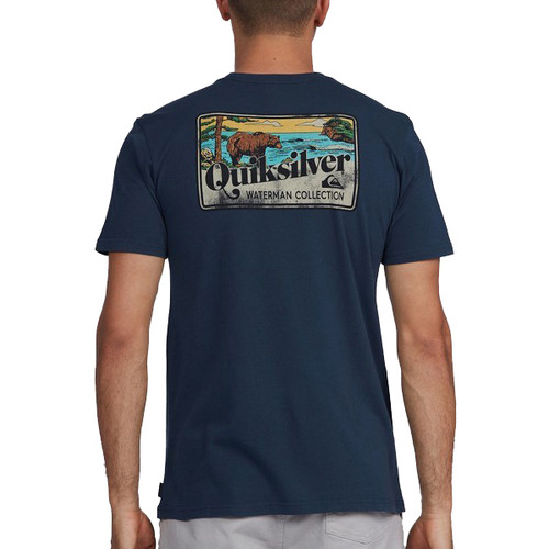 Quiksilver Tee Shirt - Fuzzy States - Midnight Navy