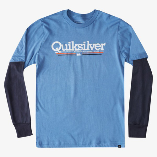 Quiksilver Boys Tee Shirt - Tropical Lines L/S - Blue Yonder