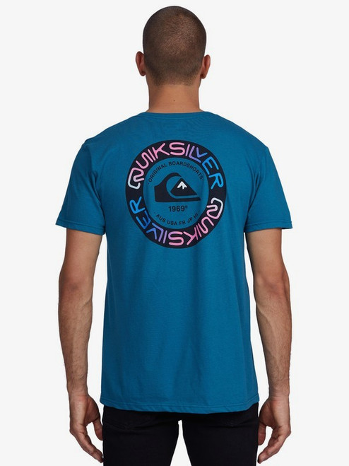 Quiksilver Tee Shirt - Time Circle - Blue Coral