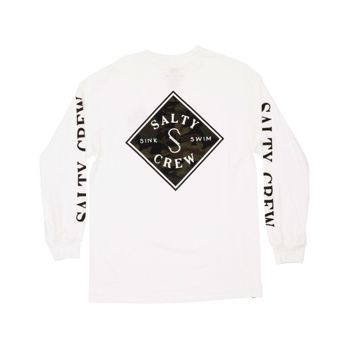 Salty Crew Tee Shirt - Tippet Decoy L/S - White