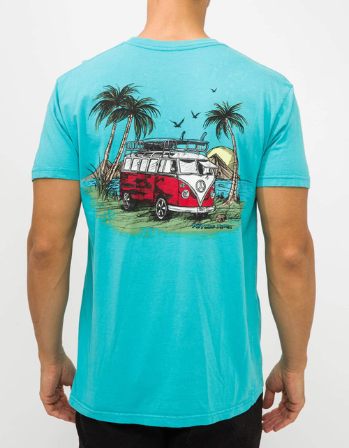 Psycho Tuna Tee Shirt - Classic Surf Bus - Aqua Sea