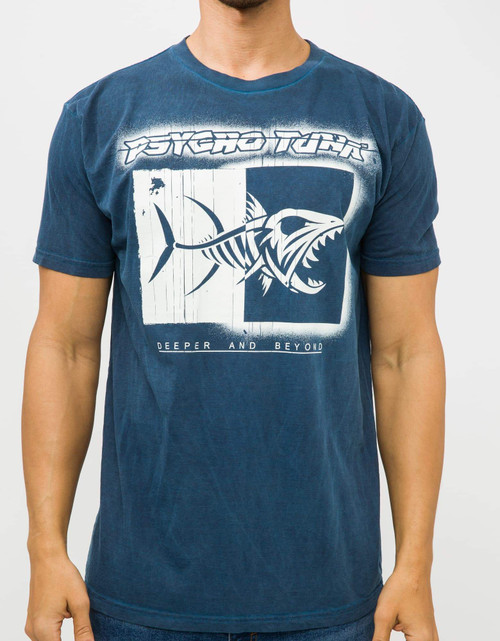 Psycho Tuna Tee Shirt - Logo Stencil - Estate Blue