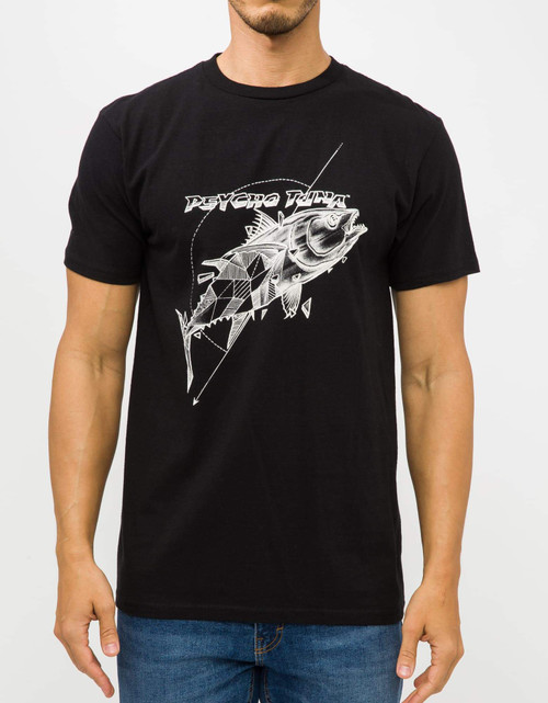 Psycho Tuna Tee Shirt - Geo Tuna - Black Oil
