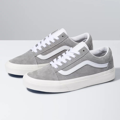 Vans Women's Shoes - Pig Suede Old Skool - Drizzle/Snow White