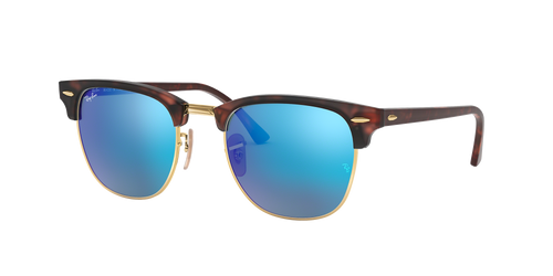 Ray Bans Sunglasses - Clubmaster - Sand Havana/Gold/Grey Mirror Blue