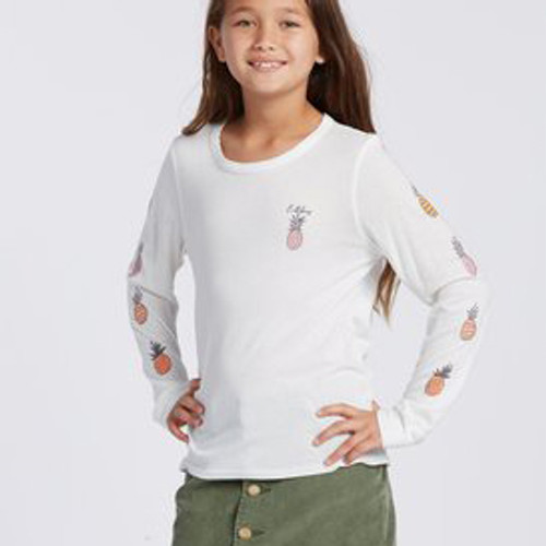Billabong Girl's Shirt - Sweet Scribble LS - Salt Crystal