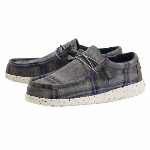 Hey Dude Shoes - Wally Plaid - Tartan Grey