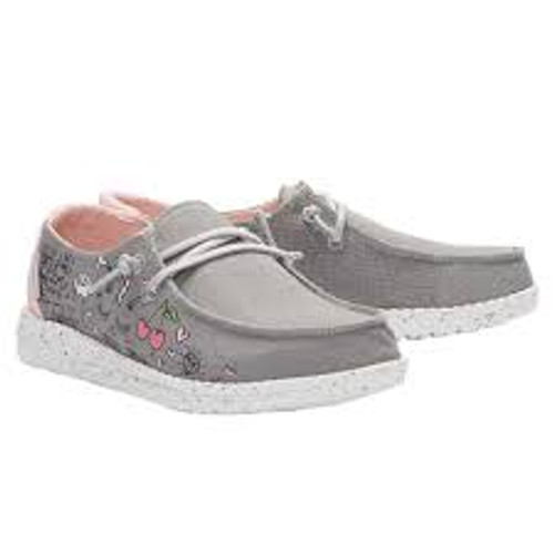 Hey Dude Youth Shoes - Wendy - Doodle Grey